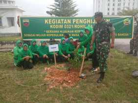 Dukung Pencanangan HPSN, Persit KCK Kodim 0321 Rohil Lakukan Penghijauan